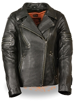 Ladies Black Leather Fitted Beltless Vented Biker Jacket w Rivet Detail