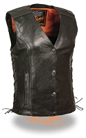 Ladies Black Leather Motorcycle Vest w Wing / Stud Detail