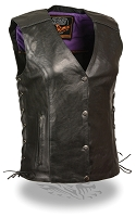 Ladies Black Leather Motorcycle Vest w Purple Wing / Stud Detail