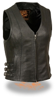 Ladies Black Leather Zipper Front Side Buckled V-Neck Vest