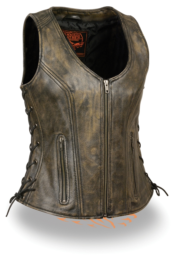 Women'S Sexy Brown Leather Vest 42