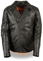Mens Black Leather Long Vented Beltless Biker Jacket
