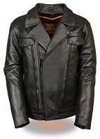 Mens High End Utility Pocket Black Leather Cruiser Jacket, Vented