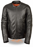Mens Black Leather Vented Scooter Jacket w/ Kidney Padding