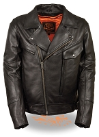 Mens Side Set Belted Black Leather Motorcycle Jacket, Utility Pocket