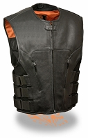 Mens Black Leather SWAT Zipper Front Motorcycle Vest