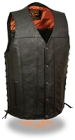 Mens Black Leather Straight Bottom Snap Vest w Side Lace