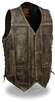 Mens Distressed Brown Leather 4 Snap Vest w Side Lace