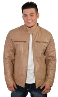 Mens Light Brown Sporty Leather Racer Jacket w Stand Collar