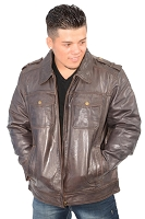Mens Dark Brown Urbanite Casual Leather Jacket w Shirt Style Collar