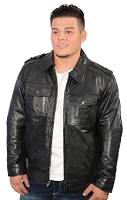 Size Large - Mens Black Urbanite Casual Leather Jacket w Shirt Style Collar