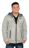 Mens Grey Casual Cafe Racer Leather Jacket w Hoodie