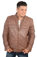 Mens Cognac Brown Leather Bomber Jacket w Shirt Collar