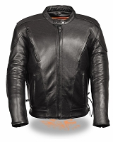 Mens Tall Vented Black Leather Scooter Jacket w Side Laces