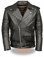 Mens Black Leather Police Style Motorcycle Jacket