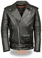 Mens Taller Black Leather Police Style Motorcycle Jacket Zipout Liner