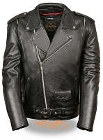 Mens Black Leather Half Belt Motorcycle Jacket, Side Laces