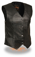 Ladies Classic 4 Snap Black Leather Vest