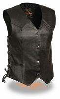 Ladies Black Leather 4 Snap Biker Vest with Side Laces