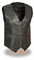 Ladies Zipper Front Braided Black Leather Vest