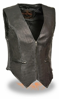 Ladies Zipper Front Black Leather Vest Side Stretch Sides