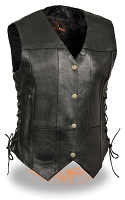 Womens Black Leather 6 Pocket Side Lace Vest