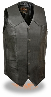 Mens Tall Classic Snap Front Black Biker Vest