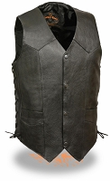 Mens Classic Snap Front Black Biker Vest with Side Laces