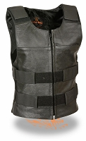 Ladies Black Leather Replica Bullet Proof Style Vest