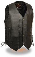 Mens 10 Pocket Black Leather Biker Vest Side Laces