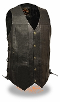 Mens Tall 10 Pocket Black Leather Biker Vest Side Laces