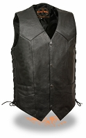 Mens Classic Snap Front Motorcycle Vest Side Laces