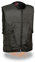 Mens Black Textile SWAT Zipper Front Motorcycle Vest