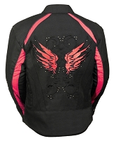 Ladies Black Nylon Motorcycle Jacket with Red Wings