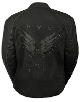 Ladies Black Nylon Motorcycle Jacket with Reflective Wings