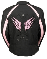 Ladies Black Nylon Motorcycle Jacket with Pink Wings