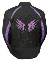 Ladies Black Nylon Motorcycle Jacket with Purple Wings