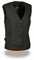 Ladies Black Nylon 4 Snap Biker Vest w Embroidered Pink Wings