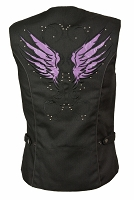 Ladies Black Nylon 4 Snap Biker Vest Embroidered Purple Wings