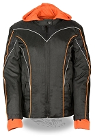 Ladies Black Nylon Motorcycle Jacket w Reflective Piping, Orange Stripes