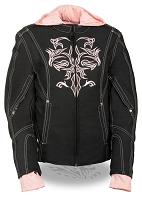 Ladies Black Nylon 3/4 Jacket with Pink Tribal Detail