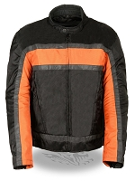 Mens Black Nylon Racer Jacket, Orange Reflective Stripes