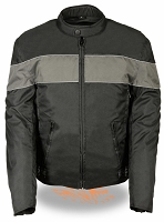 Mens Black Nylon Scooter Jacket Grey Stripes