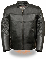 Mens Black Leather Scooter Side Stretch Jacket