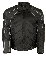 Mens Black Nylon/ Leather/ Mesh Racer Jacket