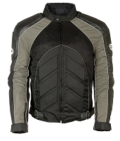 Mens Black Nylon/ Leather/ Mesh Racer Jacket Grey Stripes