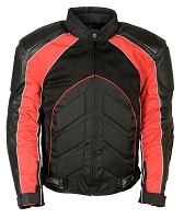 Mens Black Nylon/ Leather/ Mesh Racer Jacket Red Stripes