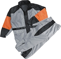 Mens Black /Silver /Orange Rain Suit Water Resistant