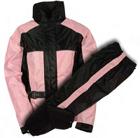 Womens Black / Pink Rain Suit Water Proof w Reflective Piping