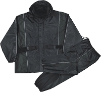 Womens Black Rain Suit Water Proof w Reflective Piping